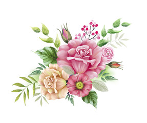 drawing a bouquet of pink flowers, roses with leaves