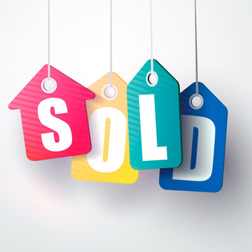 Sold sign. colorful. isolated on white background. vector illustration
