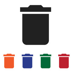 Filled Trash bin icon vector isolated on white background. Modern symbol in trendy flat style for mobile app and web design.