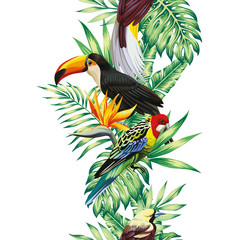 Wall Mural - Tropical bird leaves and flowers seamless white background