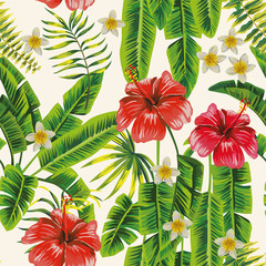 Wall Mural - Palm leaves and hibiscus plumeria flowers seamless white background
