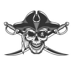 Vintage monochrome skull in pirate hat