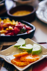 Traditional Breakfast Dishes with Fruits