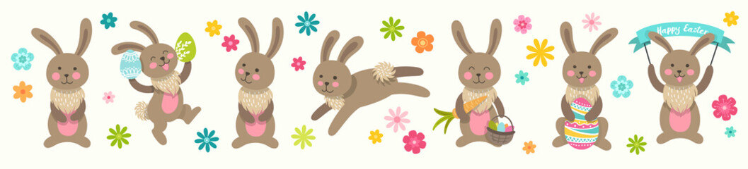 Set of cute Easter cartoon characters rabbits and design elements flowers. Easter brown bunny and flowers. Vector illustration