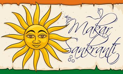 Sun in Scroll for the Indian Makar Sankranti Celebration, Vector Illustration