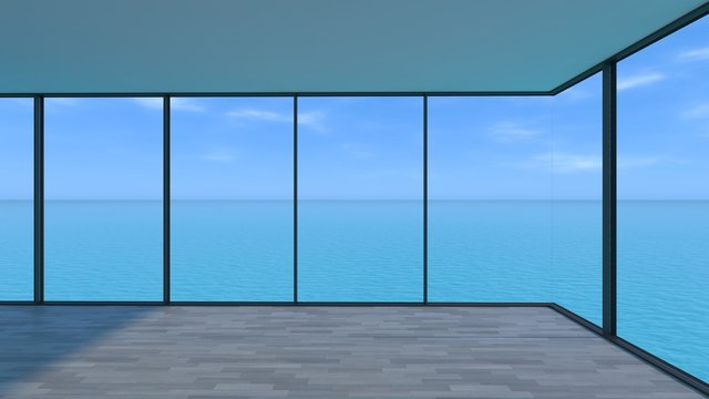 Interior of white room with bright clear sky and sea.