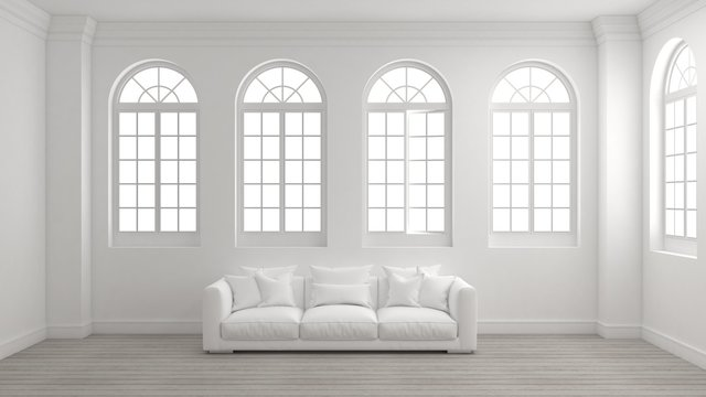 Room of interior with white wall, wooden floor, arched windows and a sofa with bright light outside. Concept of new planning home, start to moving in or mock up room for your product. 3d illustration.