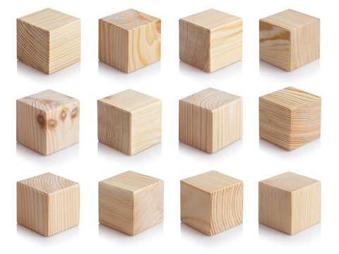 Large-format collection of wooden cubes, isolated on white background
