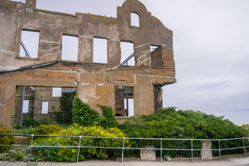 The ruins of an old building, Alcatraz island, San Francisco bay, California