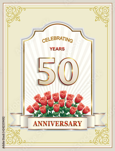 50 Years Anniversary Happy Birthday Greeting Card Background