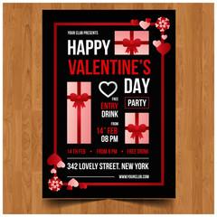 Flat heart valentine party invitation poster template