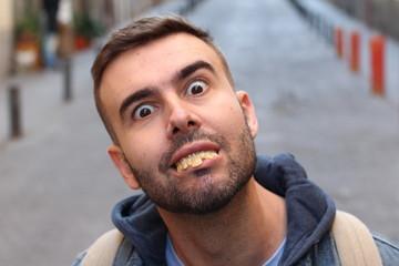 Weird man with really bad teeth