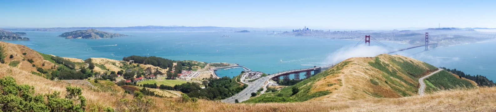 Panoramic view of San Francisco bay, Golden Gate Bridge, Angel Island and the Financial District, California
