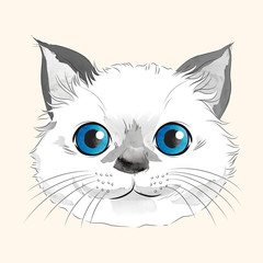 Watercolor illustration of happy white kitty head with blue eyes and long whiskers