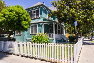 Colorful house on a street corner, San Jose, California