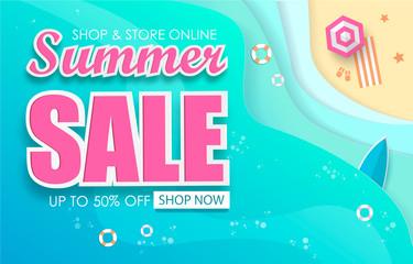 Summer Sale Typography Paper Folding Design. Vector Illustration