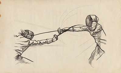 Fencing - An hand drawn illustration. Freehand sketching.