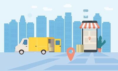 Online delivery service, tracking online tracker. Smartphone, parcel delivery truck. Internet delivery, concept, idea, vector, illustration for web sites, stores, animation, mobile applications