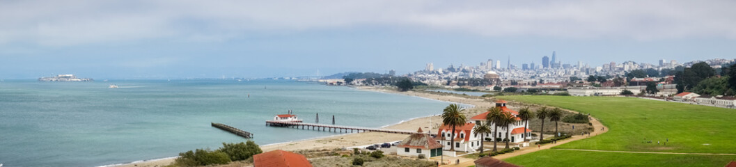 Panoramic view towards Crissy Field; financial district in the background, San Francisco, California