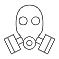 Gas mask thin line icon, defense and army, respirator sign, vector graphics, a linear pattern on a white background.