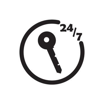 247 locksmith icon black vector design illustration