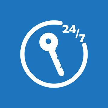 247 locksmith icon flat vector design illustration