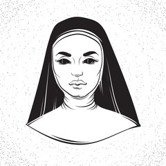 Vector illustration of nun with cross made in hand drawn horror line realistic style. Template for card poster banner print for t-shirt