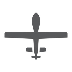 Unmanned aerial glyph icon, military and vehicle, drone sign, vector graphics, a solid pattern on a white background.