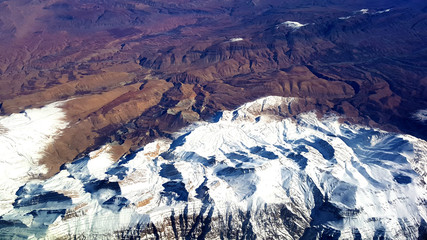 Iran landscape from above airplane photo mountains tops with snow