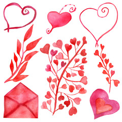 Watercolor set of elements of florid red and pink hearts, branches, red leaves and envelope isolated on a white background. Hand-painted for wedding invitations and congratulations on Valentine's day.