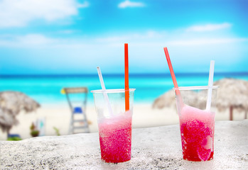 Two strawberry drift-ice on the beach. This is situated in tropical resort in Cuba.
