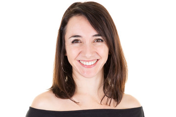 face portrait cute beauty woman businesswoman on white background