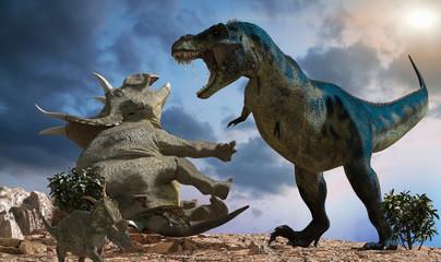battle of dinosaurs render 3d