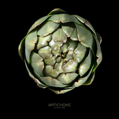 Top view of fresh artichoke on black background. Food concept. Healthy eating.