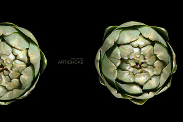 Heads of artichoke on black background. Food concept. Healthy eating.