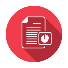 Business document file page pie chart report icon. Vector icon