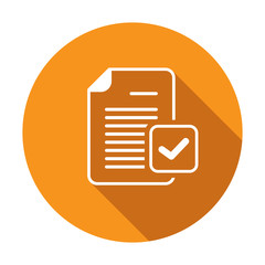 Check mark document file page verified icon. Vector icon