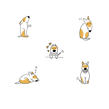 Set of happy puppy cartoon emotions illustration isolated on white