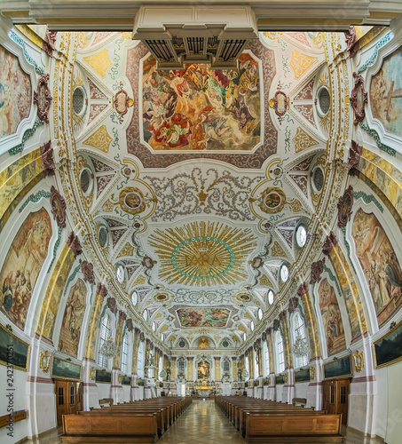 Vertical panorama of interior of Burgersaal Church in Munich, Germany. Burgersaal was built in