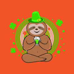 cute sloth st patrick day leprechaun hat shamrock