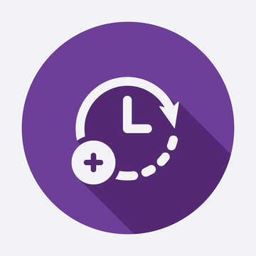 Extra hour, extra time icon. Clock icon with add sign. Clock icon and new, plus, positive symbol. Vector icon