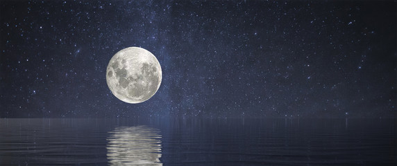 Full Moon at Sea Wall mural