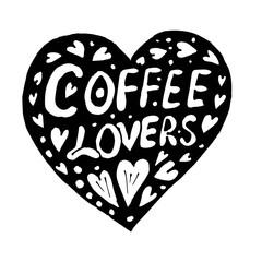 Doodle heart and and lettering coffee lovers