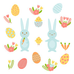 Set of bright colored vector elements for Easter. Includes colored eggs, chicks, rabbits and flowers for Easter design.