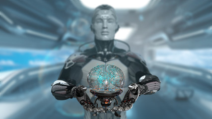 Robot man presenting cyber brain, AI concept in augment reality, 3d render