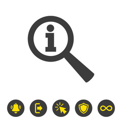 Magnifier info icon on white background.