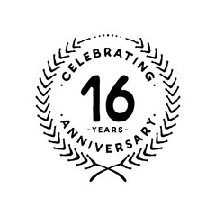 16 years design template. 16th vector and illustration