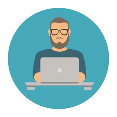 User Icon, male face avatar works on a laptop on isolated in a circle background. Modern cartoon vector illustration in a flat style.