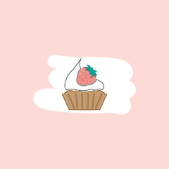 strawberry cupcake flat icon. from valentine's day icon set