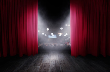 The red curtains are opening for the theater show Wall mural